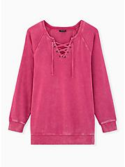 Neon Pink Terry Lace-Up Tunic Sweatshirt, SUPERSONIC, hi-res