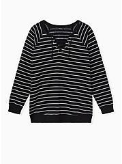 Black Stripe Lace-Up Raglan Fleece Sweatshirt, DEEP BLACK, hi-res
