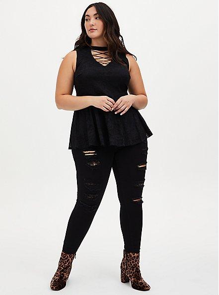 Black Lace Lattice Peplum Sleeveless Top, DEEP BLACK, alternate