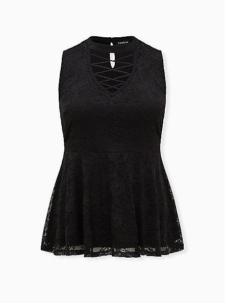 Black Lace Lattice Peplum Sleeveless Top, DEEP BLACK, hi-res