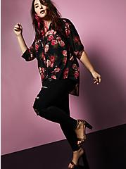 Betsey Johnson Black Floral Sheer Chiffon Tunic, FLORALS-BLACK, alternate