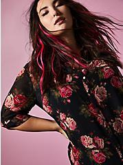 Betsey Johnson Black Floral Sheer Chiffon Tunic, FLORALS-BLACK, hi-res