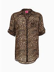 Betsey Johnson Leopard Sheer Chiffon Tunic, LEOPARD, hi-res