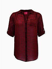 Betsey Johnson Red Plaid Sheer Chiffon Tunic, PLAID - RED, hi-res