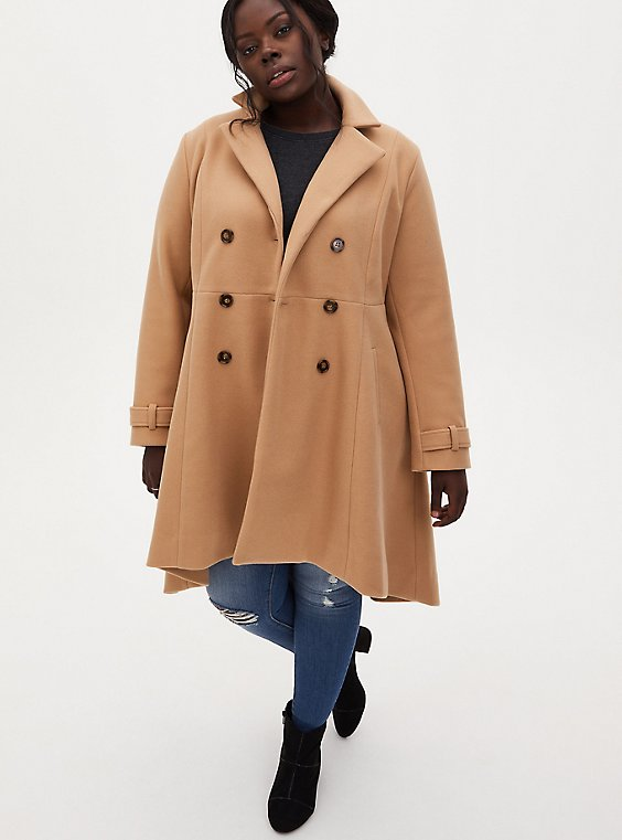Beige Double Breast Hi-Lo Coat, , hi-res