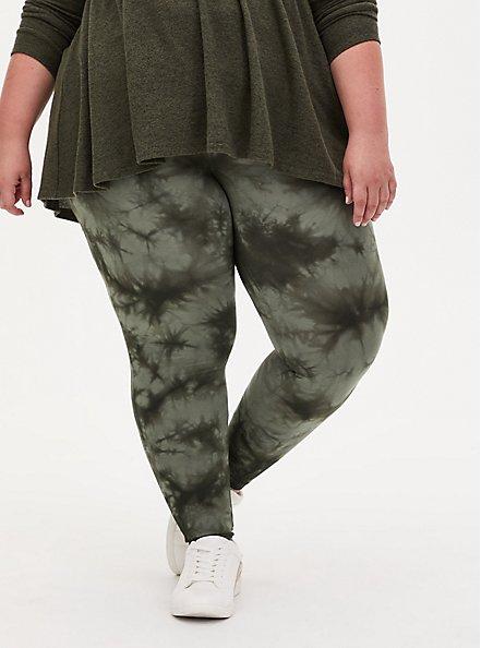 Plus Size Premium Legging - Tie-Dye Olive Green, GREEN, alternate