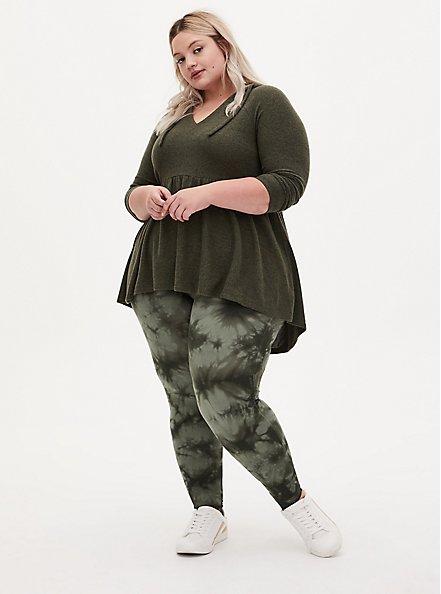 Plus Size Premium Legging - Tie-Dye Olive Green, GREEN, hi-res