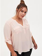 Harper - Light Pink Georgette Pullover Blouse, PALE BLUSH, hi-res