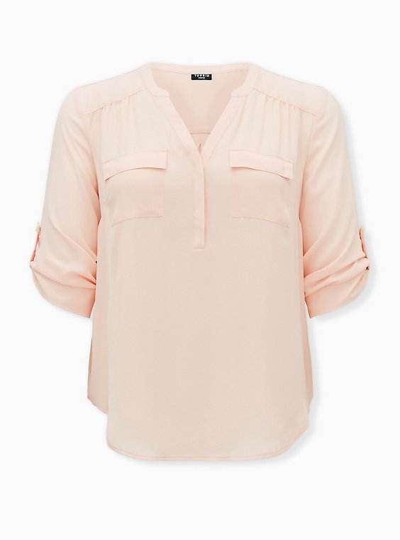 Harper - Light Pink Georgette Pullover Blouse, PALE BLUSH, ls