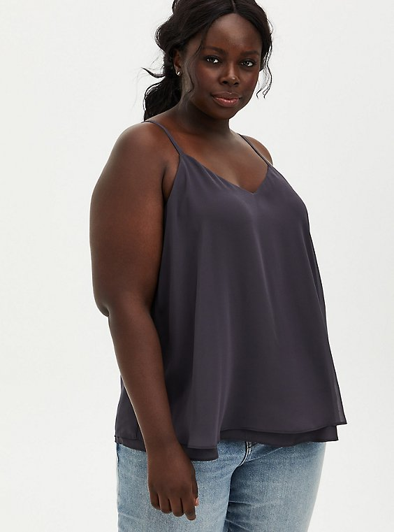 Sophie - Dark Slate Grey Chiffon Double Layer Swing Cami, , hi-res