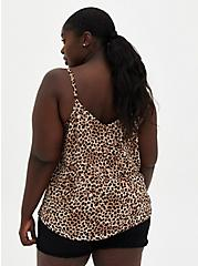 Plus Size Sophie - Leopard Chiffon Double Layer Swing Cami, LEOPARD, alternate