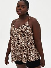 Plus Size Sophie - Leopard Chiffon Double Layer Swing Cami, LEOPARD, hi-res