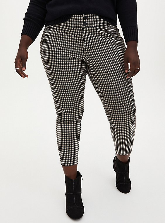 Plus Size Black & Taupe Gingham Double Knit Skinny Ankle Pant , , hi-res