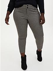 Plus Size Black & Taupe Gingham Double Knit Skinny Ankle Pant , GINGHAM CHECK, hi-res