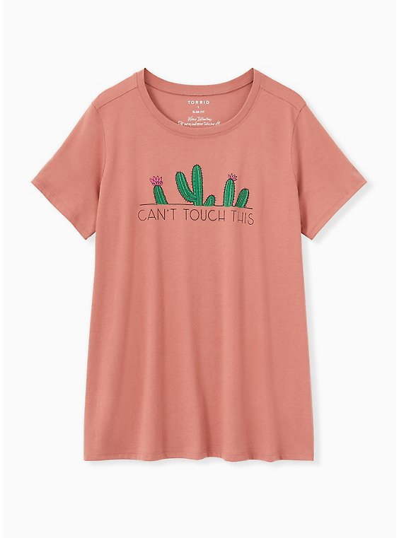 Can't Touch This Cactus Slim Fit Crew Tee - Dusty Rose , WITHERED ROSE PINK, hi-res