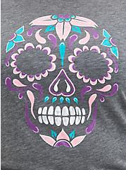 Dia De Los Muertos Classic Fit Ringer Tee - Heather Grey, MEDIUM HEATHER GREY, alternate