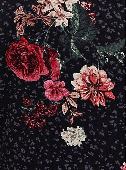 Plus Size Super Soft Black Leopard Floral Lattice Babydoll Top, DEEP BLACK, alternate