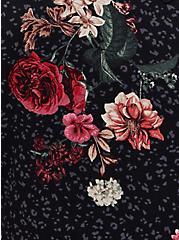 Super Soft Black Leopard Floral Lattice Babydoll Top, DEEP BLACK, alternate