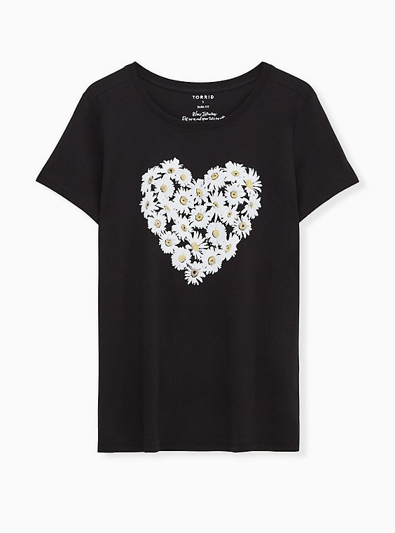 Daisy Heart Slim Fit Crew Tee - Black, DEEP BLACK, hi-res