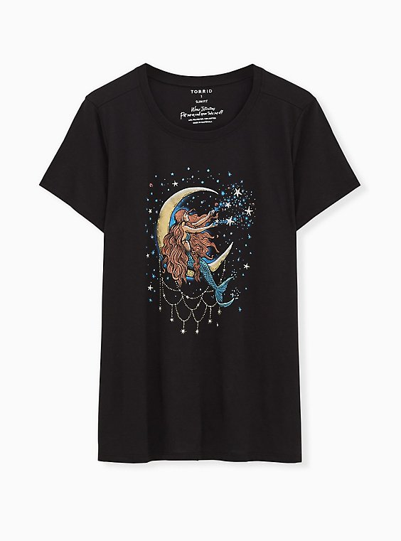 Moon Mermaid Slim Fit Crew Tee - Black, , hi-res