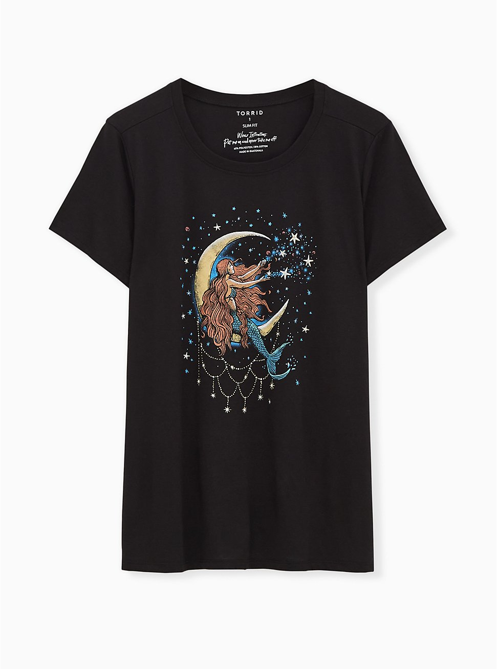 Moon Mermaid Slim Fit Crew Tee - Black, DEEP BLACK, hi-res