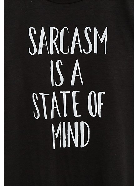 Sarcasm State of Mind Relaxed Fit Crew Tee - Slub Black, DEEP BLACK, alternate