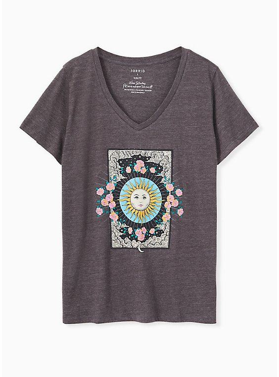 Sun & Floral Slim Fit V-Neck Tee - Triblend Jersey Dark Slate Grey , , hi-res
