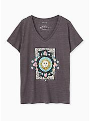 Sun & Floral Slim Fit V-Neck Tee - Triblend Jersey Dark Slate Grey , NINE IRON, hi-res