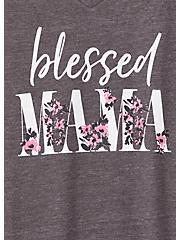 Blessed Mama Slim Fit V-Neck Tee - Triblend Dark Slate Grey, NINE IRON, alternate