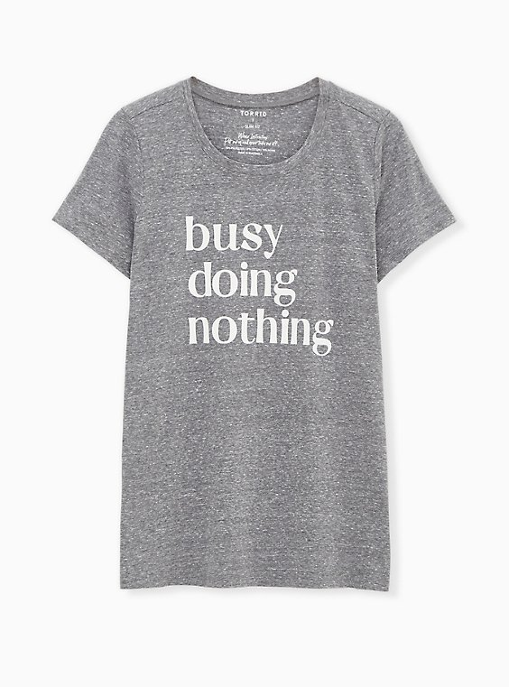 Busy Doing Nothing Slim Fit Crew Tee - Triblend Jersey Heather Grey, , hi-res