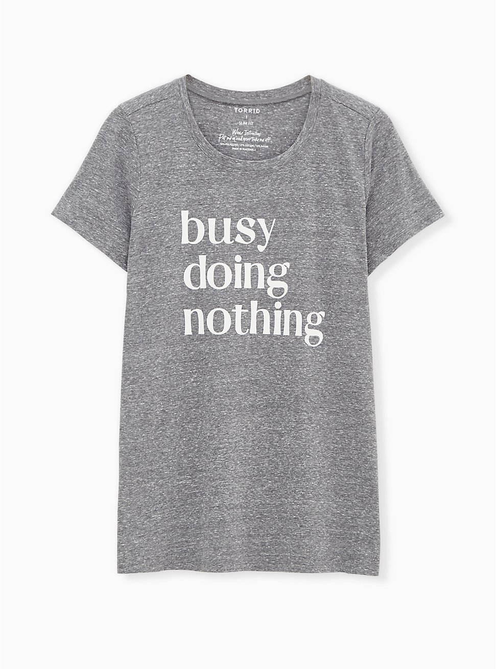 Plus Size Busy Doing Nothing Slim Fit Crew Tee - Triblend Jersey Heather Grey, MEDIUM HEATHER GREY, hi-res