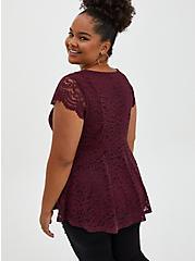 Burgundy Purple Lace Peplum Top, WINETASTING, alternate