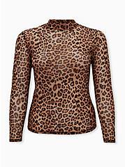 Leopard Sheer Mesh Top, , hi-res