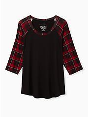 Raglan Tee - Super Soft Black & Red Plaid, , hi-res
