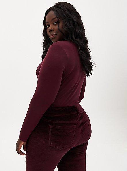 Burgundy Purple Studio Knit Twist Front Bodysuit, WINETASTING, alternate