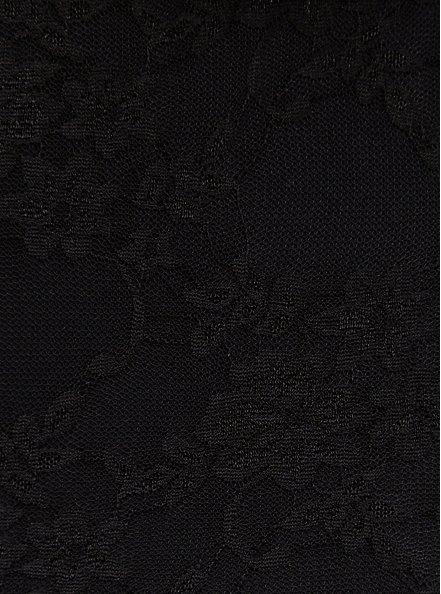 Black Lace Cold Shoulder Babydoll Top, DEEP BLACK, alternate