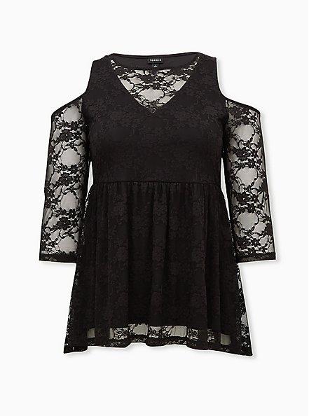 Black Lace Cold Shoulder Babydoll Top, DEEP BLACK, hi-res