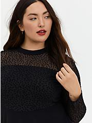 Black Star Mesh & Premium Ponte Peplum Top, DEEP BLACK, alternate