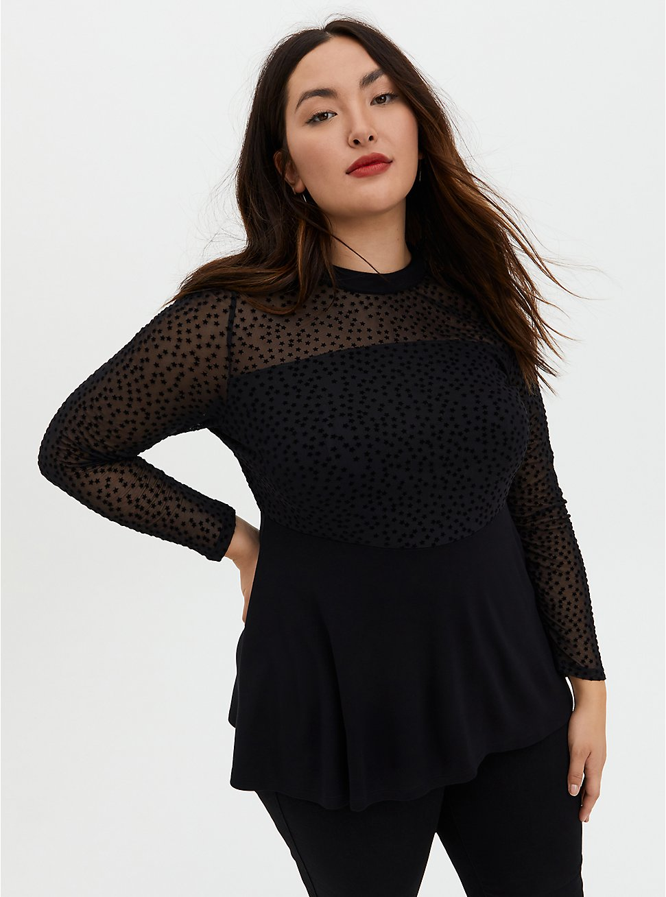 Black Star Mesh & Premium Ponte Peplum Top, DEEP BLACK, hi-res