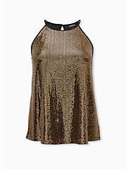 Gold Sequin High Neck Top, , hi-res