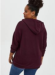 Super Soft Plush Burgundy Purple Relaxed Tunic Hoodie, WINETASTING, alternate