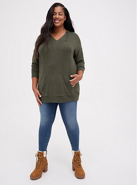 Super Soft Plush Olive Green Relaxed Tunic Hoodie, DEEP DEPTHS, alternate