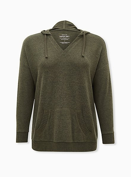 Super Soft Plush Olive Green Relaxed Tunic Hoodie, DEEP DEPTHS, hi-res