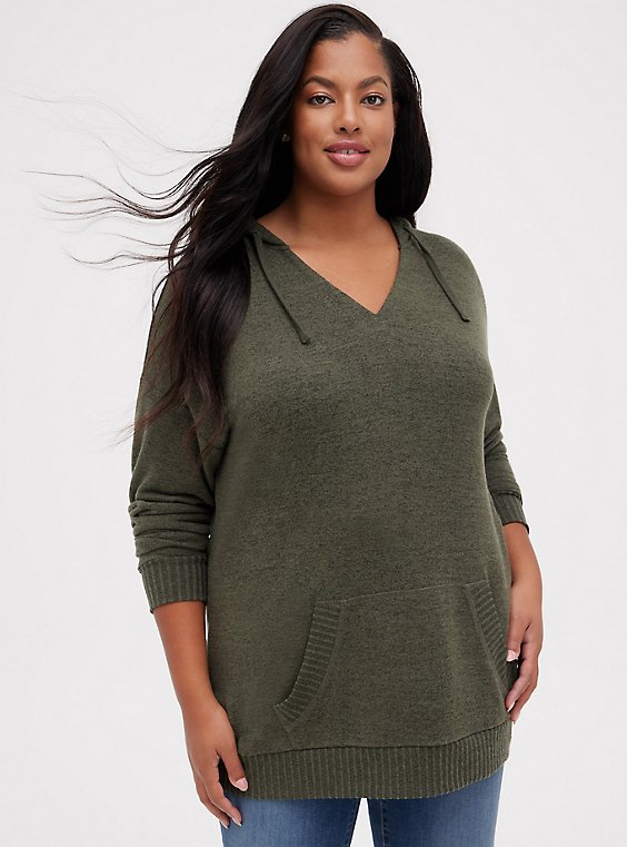 Super Soft Plush Olive Green Relaxed Tunic Hoodie, , hi-res
