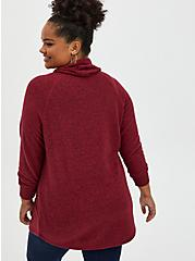 Super Soft Plush Dark Red Cowl Neck Tunic Sweatshirt, BIKING RED, alternate