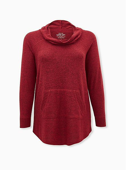 Super Soft Plush Dark Red Cowl Neck Tunic Sweatshirt, BIKING RED, hi-res