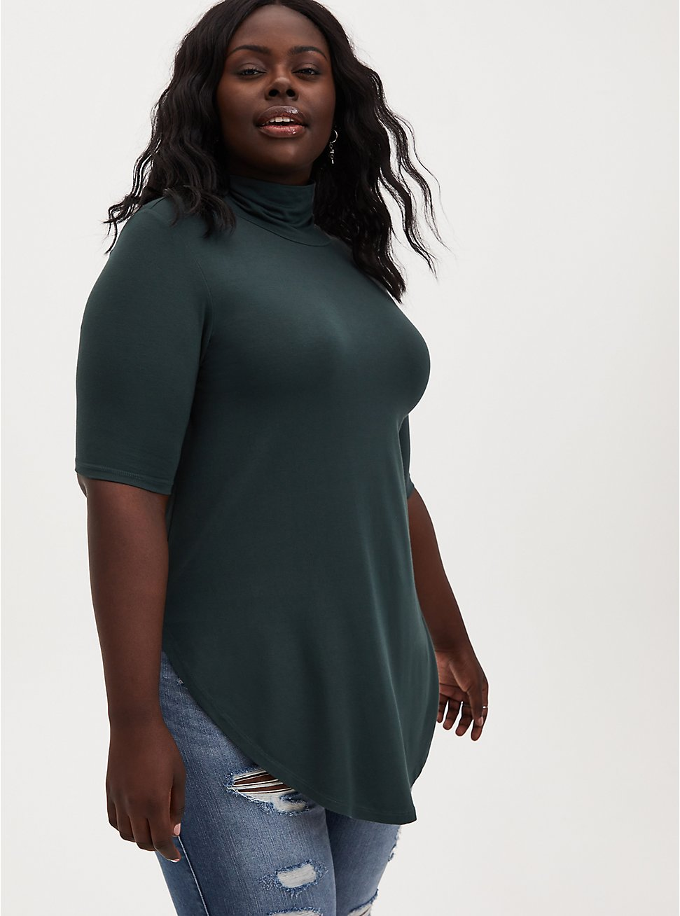 Super Soft Green Turtleneck Tunic  , , hi-res
