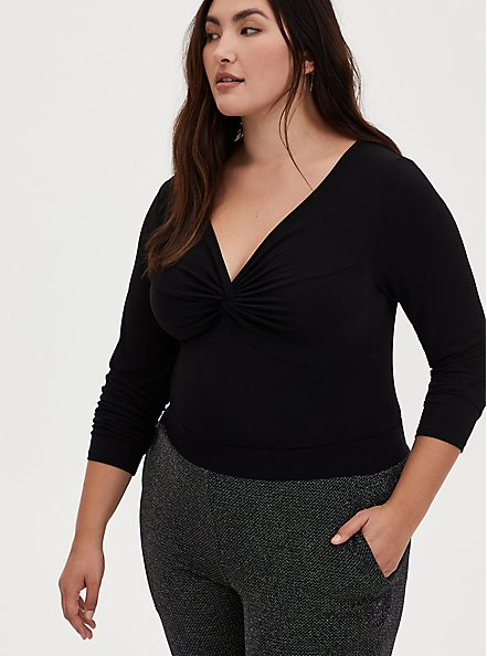 Black Studio Knit Front Knot Twist Bodysuit, DEEP BLACK, hi-res
