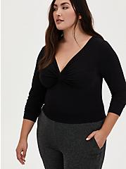 Black Studio Knit Twist Front Bodysuit, DEEP BLACK, hi-res