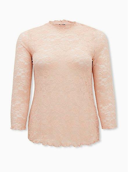Blush Pink Sheer Lace Lettuce Edge Tee, , hi-res